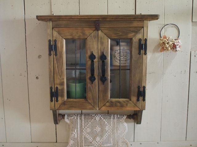 アンティークブラウン アイアン透明ガラス窓のキャビネットシェルフ(アイアンハンドル・兆番タイプ) ハンガーつき 受注製作
