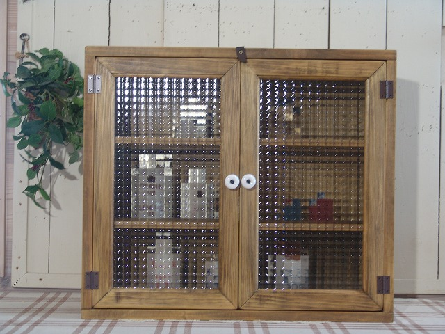 アンティークブラウン フランス製チェッカーガラスの背板付きキャビネット(55×20×48cm)(ニッチ用埋め込みタイプ) 受注製作