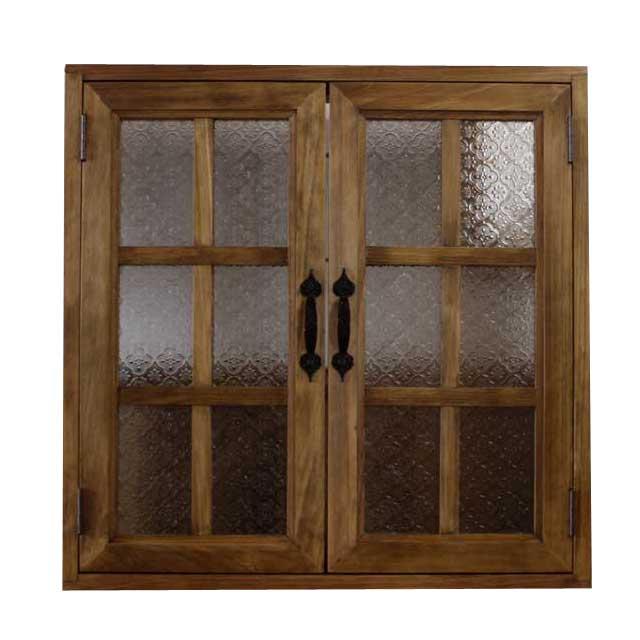 カフェ窓 室内窓 採光窓 フローラガラス扉 アンティークブラウン 木製 ひのき 60×15×60cm・厚み3cm 両面仕様 桟入り アイアン取っ手つき 北欧 オーダーメイド 1327933