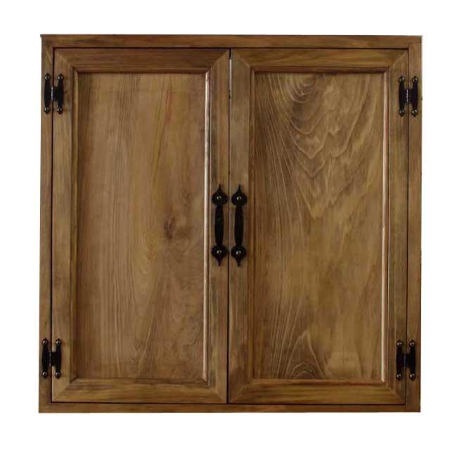 カフェ窓 室内窓 採光窓 木製扉 木製 ひのき 60×15×60cm 両面仕様 アイアン取っ手つき 北欧 アンティークブラウン オーダーメイド 1327933