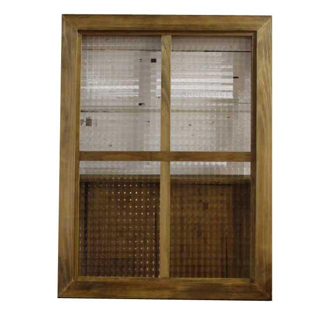 FIX窓 木製 ひのき アンティークブラウン チェッカーガラス 両面仕様桟入り 45×60cm・厚み3.5cm 北欧 オーダーメイド 1327933