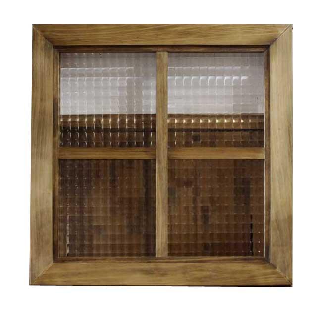 フィックス窓 木製 ひのき アンティークブラウン チェッカーガラスの室内窓 両面十字桟入り 40×3.5×40cm 北欧 オーダーメイド 1327933