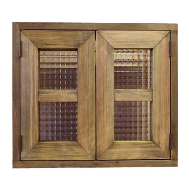 室内窓 採光窓 木製 ひのき アンティークブラウン フランス製チェッカーガラス扉 40×15×35cm 扉厚み3cm マグネット仕様 両面桟入り 北欧 受注製作