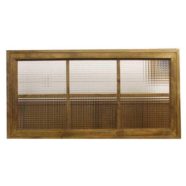 フィックス窓 木製 ひのき チェッカーガラスの窓枠つき室内窓 採光窓 両面桟入り(100×13×50cm・厚み3.5cm)アンティークブラウン オーダーメイド 1327933