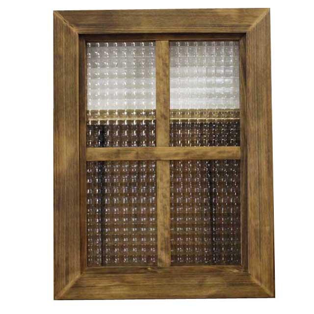 FIX窓 木製 ひのき チェッカーガラスフレーム 両面桟入りガラス窓 40×3.5×30cm 北欧 アンティークブラウン オーダーメイド 1327933