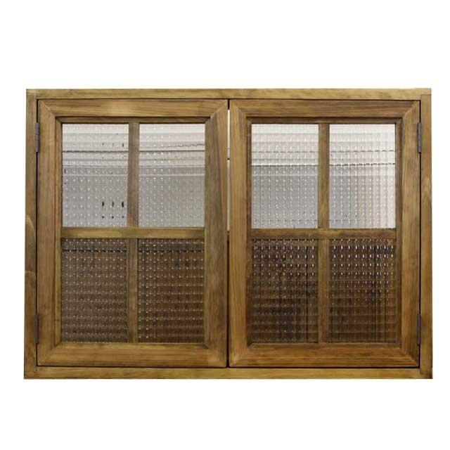 カフェ窓 室内窓 採光窓 木製 ひのき チェッカーガラス扉 70×12×50センチ 扉厚み3センチ 両面桟・裏面取っ手つき 北欧 アンティークブラウン オーダーメイド 1354963