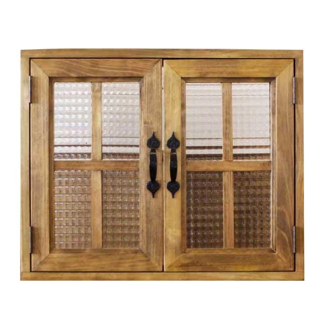 カフェ窓 室内窓 採光窓 木製 ひのき チェッカーガラス扉 55×15×45センチ 扉厚み3センチ 両面桟・取っ手つき 北欧 アンティークブラウン オーダーメイド 1327933