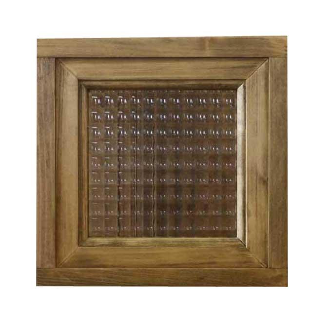 フィックス窓 チェッカーガラス アンティークブラウン 24×15×24cm 木製 ひのき オーダーメイド 1354963