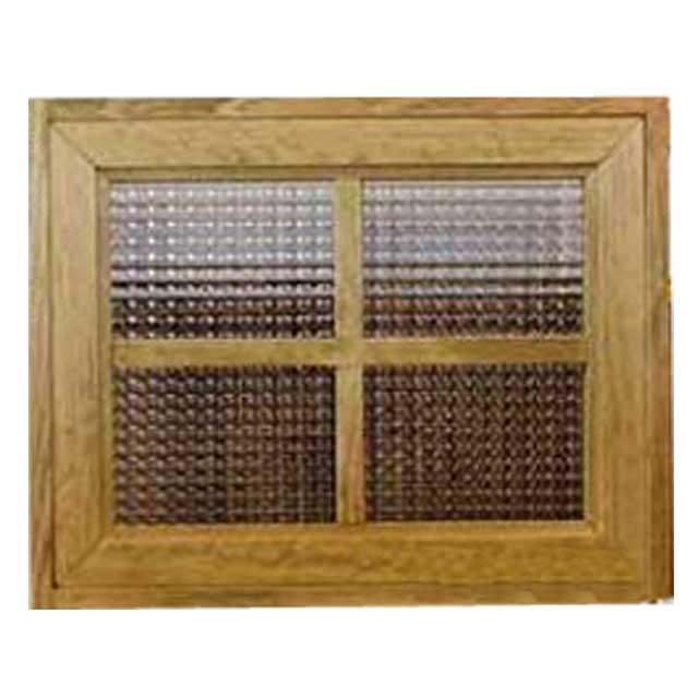 フィックス窓 木製 ひのき チェッカーガラスの窓枠つき室内窓 採光窓 両面桟入り(50×15×40cm・厚み3.5cm)アンティークブラウン オーダーメイド 1327933