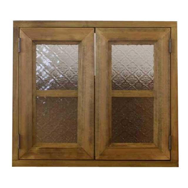 カフェ窓 室内窓 採光窓 フローラガラス扉 木製 ひのき 両面仕様 45×15×40cm 扉の厚み3cm アンティークブラウン オーダーメイド 1327933
