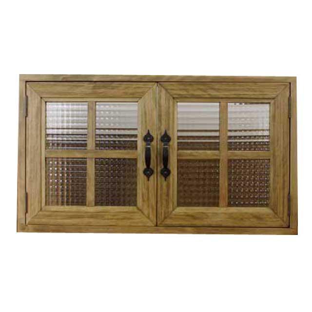室内窓 採光窓 木製 ひのき チェッカーガラス扉 両面桟入りガラス窓(70×15×45cm扉厚み3cm)アンティークブラウン オーダーメイド 1327933