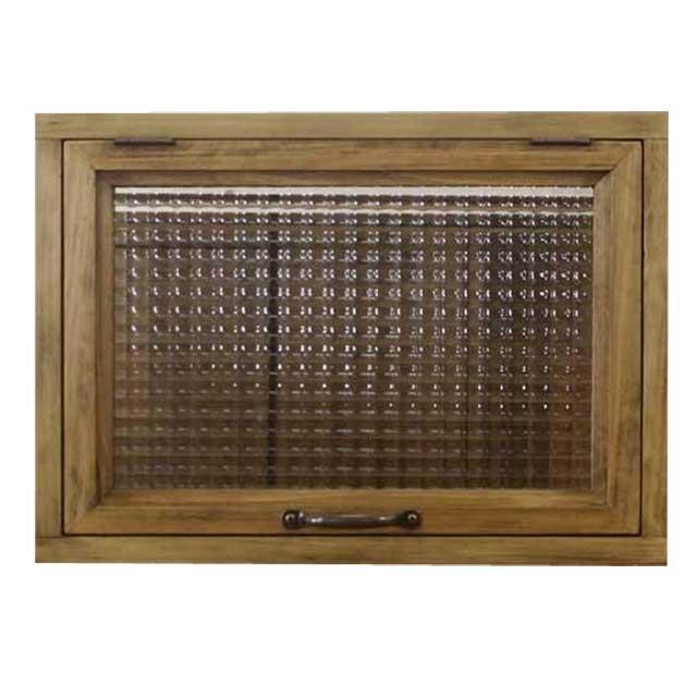 突き出し窓 木製 ひのき チェッカーガラス 採光窓 フラップアップ式 両面仕様(42×15×30cm・扉の厚み3cm)アンティークブラウン オーダーメイド 1327933