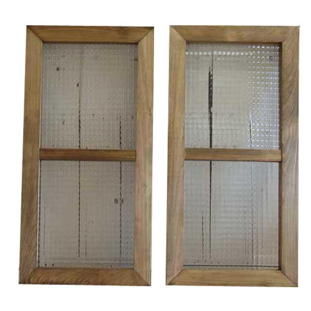アンティークブラウン チェッカーガラスの室内窓 採光窓 両面桟入り 観音開き2枚組み(35×70cm・厚み3.5cm) オーダーメイド 1327933