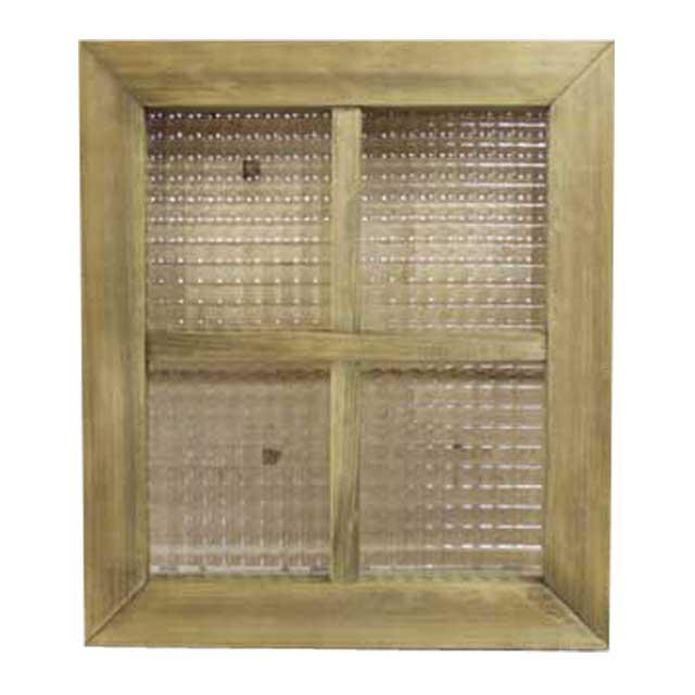 室内窓 採光窓 チェッカーガラス 木製 ひのき アンティークブラウン フィックス窓 両面仕様桟入り 40×35センチ・厚み3.5センチ オーダーメイド 1327933