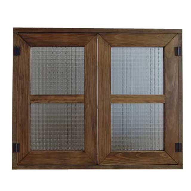 室内窓 採光窓 チェッカーガラス アンティークブラウン 木製 ひのき 60×50cm扉厚み3cm マグネット仕様 オーダーメイド 1327933