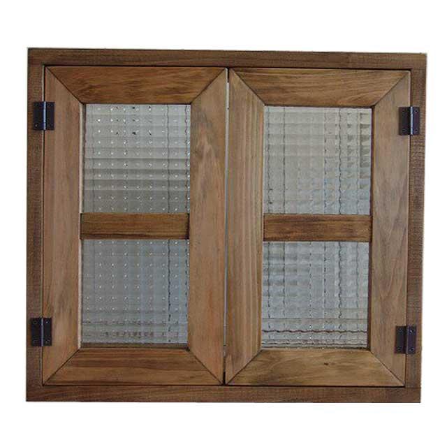 室内窓 採光窓 チェッカーガラス アンティークブラウン 木製 ひのき 45×40cm扉 厚み3cm マグネット仕様 オーダーメイド 1327933