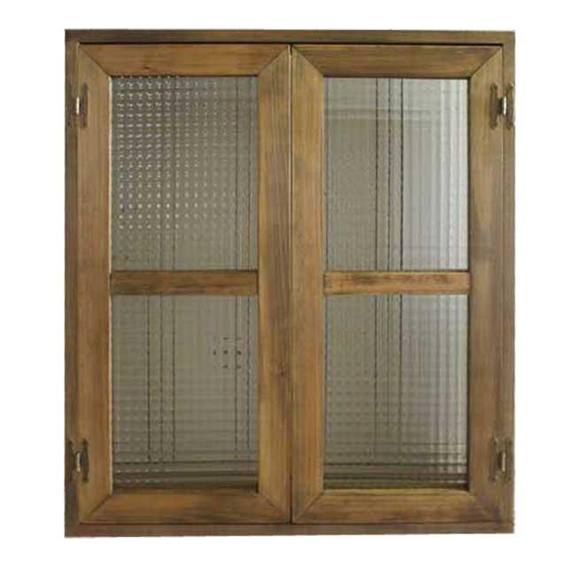 室内窓 採光窓 チェッカーガラス アンティークブラウン 木製 ひのき 60×70cm扉厚み3cm マグネット仕様 オーダーメイド 1327933