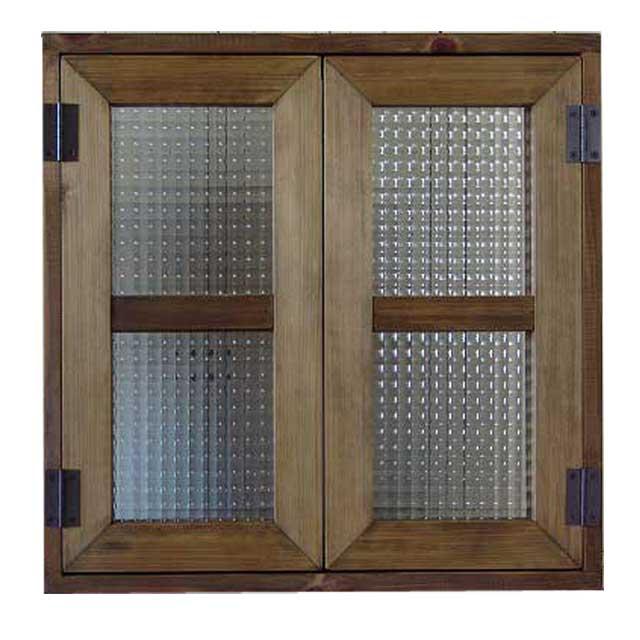 室内窓 採光窓 チェッカーガラス アンティークブラウン 木製 ひのき 50×50cm 扉厚み3cm マグネット仕様 アンティークブラウン オーダーメイド 1327933