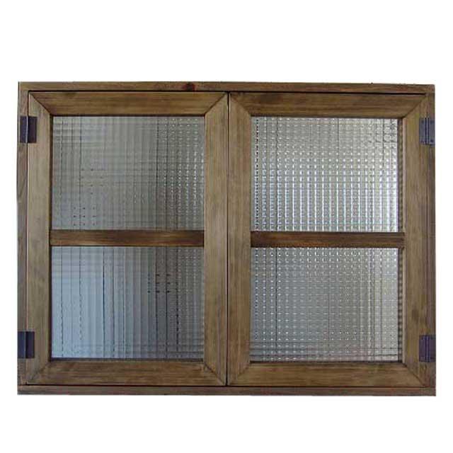 室内窓 採光窓 チェッカーガラス 木製 ひのき アンティークブラウン 80×60cm扉厚み3cm マグネット仕様 オーダーメイド 1327933