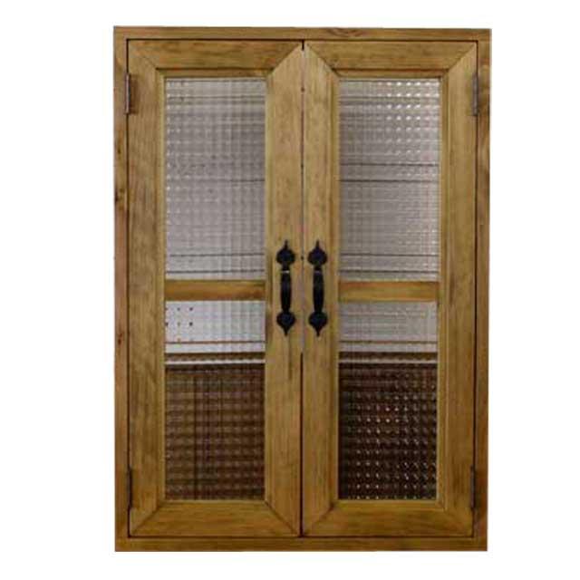 室内窓 採光窓 木製 ひのき チェッカーガラス扉 50×15×70cm 扉厚み3cm アンティークブラウン 両面アイアン取っ手・マグネット仕様 オーダーメイド 1327933