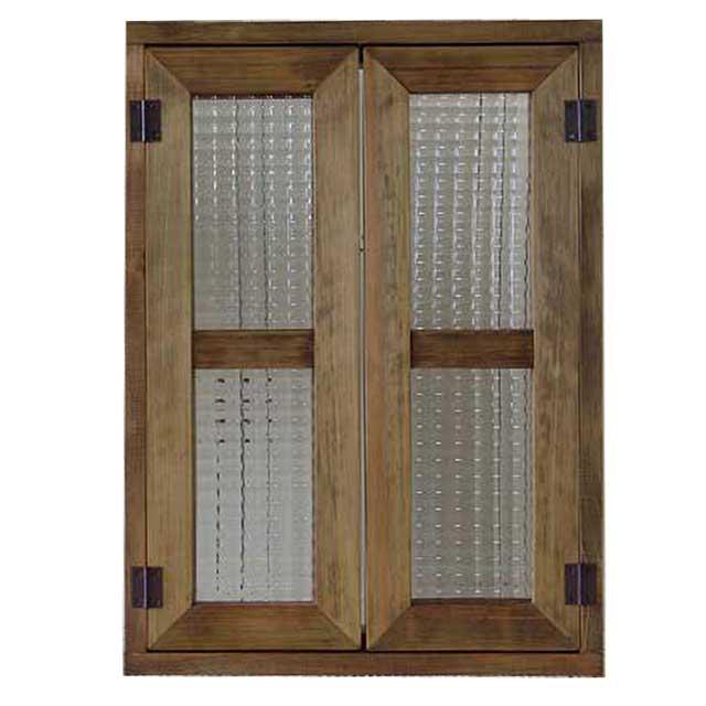 室内窓 採光窓 アンティークブラウン チェッカーガラス 木製 ひのき 36×14×50cm 扉厚み3cm マグネット仕様 オーダーメイド 1327933