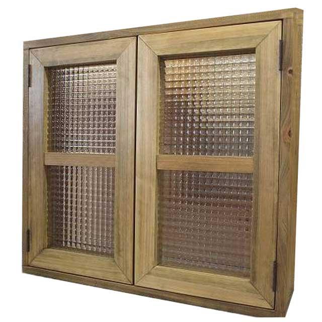 室内窓 アンティークブラウン チェッカーガラス扉 マグネット仕様 60×55cm 扉厚み3cm 木製 ひのき オーダーメイド 1327933