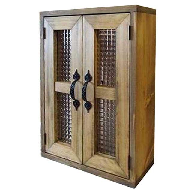 室内窓 採光窓 木製 ひのき アンティークブラウン チェッカーガラス扉 36×14×50cm 扉厚み3cm 両面アイアン取っ手・マグネット仕様 オーダーメイド 1327933