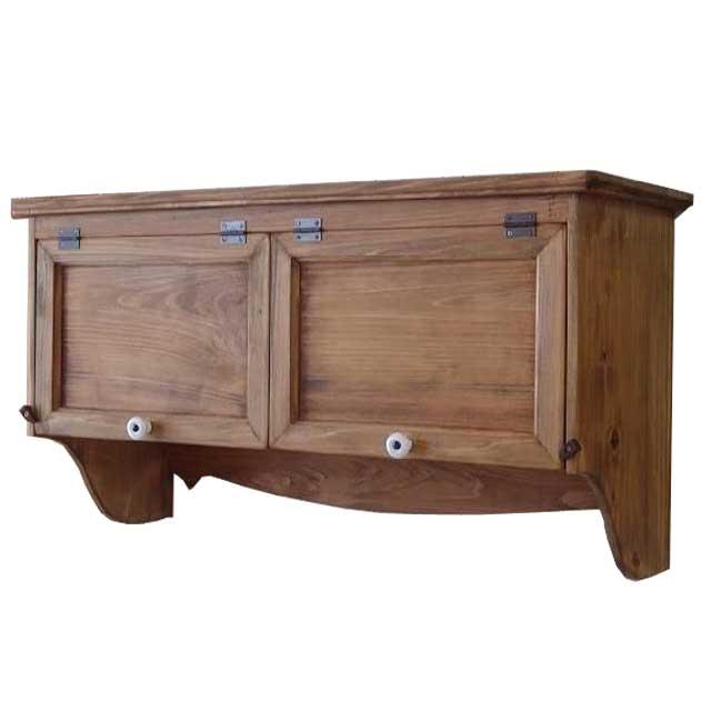 吊り戸棚 横型キャビネット アンティークブラウン w72d27h40cm ダブル扉 壁掛け 木製 ひのき 受注製作
