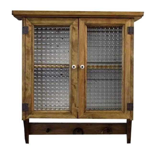 キャビネットシェルフ 木製 ひのき フランス製チェッカーガラス ペグ付 アンティークブラウン 受注製作