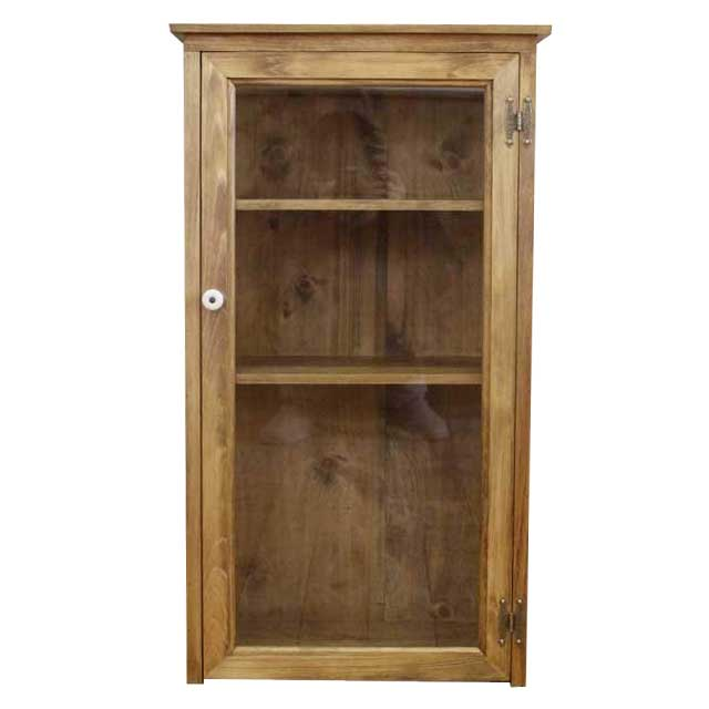 Cabinet Clear Glass Door Antique Brown W45d27h80cm Magnet Chest Wooden  Hinoki Custom Tailoring