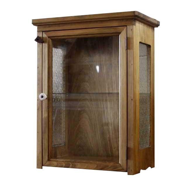 キャビネット 木製 ひのき アンティークブラウン 透明ガラス扉 側面フローラガラス ミニキャビネット 透明ガラス棚 オーダーメイド