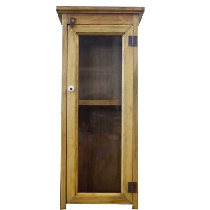 アンティークブラウン 透明ガラス扉のミニキャビネット(21×21×48cm)側面木製タイプ オーダーメイド
