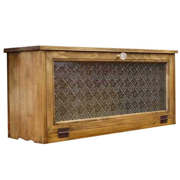 横型キャビネット フローラガラス扉 w60d18h26cm アンティークブラウン パンプキンノブ・マグネット仕様 木製 ひのき 受注製作