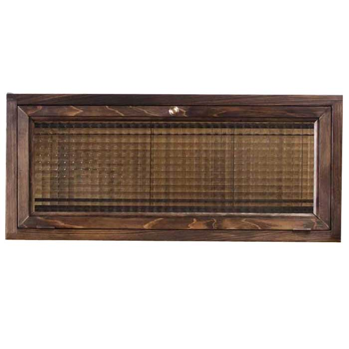 キャビネット 横型 w60d15h26cm ダークブラウン フランス製チェッカーガラス 上置き収納棚 木製 ひのき 受注製作