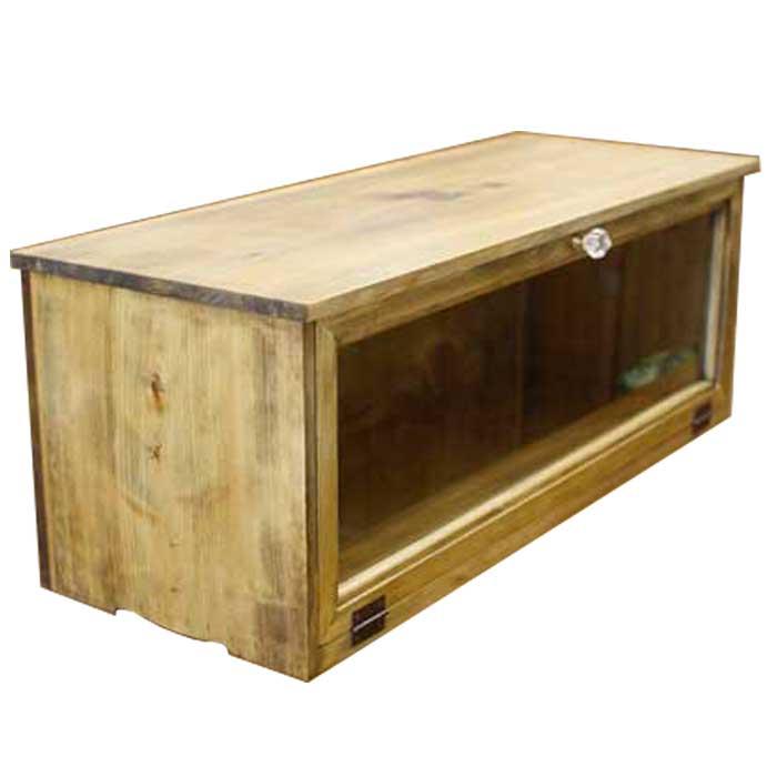 キャビネット 透明ガラス扉 アンティークブラウン w60d18h26cm 横型 パンプキンノブ 木製 ひのき オーダーメイド