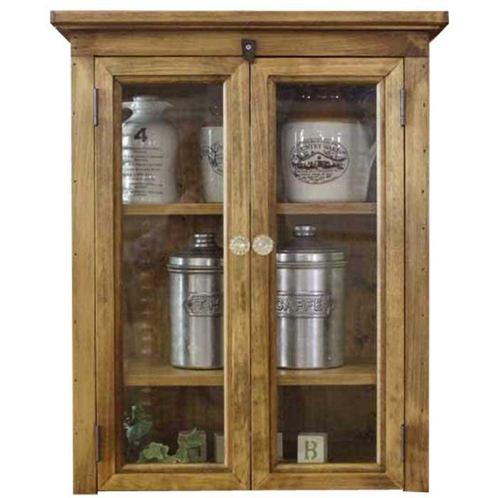 キャビネット 木製 ひのき 透明ガラス扉 側面チェッカーガラス パンプキンノブ 棚可動式 置き型キャビネット 42×25×51cm アンティークブラウン オーダーメイド