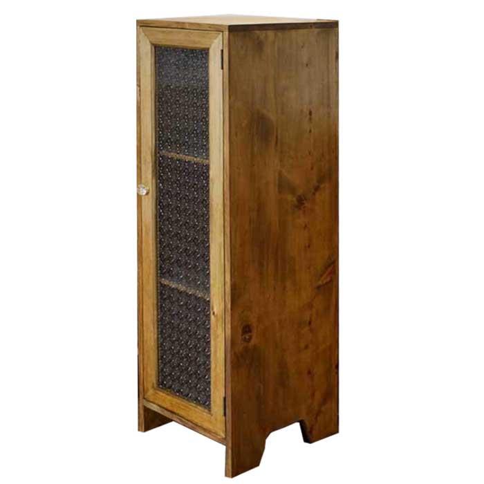 キャビネット 木製 ひのき 脚付きキャビネット フローラガラス扉 パンプキンノブ・マグネット仕様 35×42×120cm 北欧 アンティークブラウン オーダーメイド