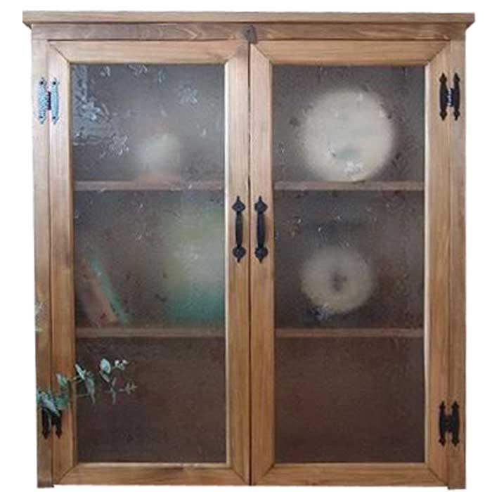 アンティークブラウン 模様ガラスの大型木製キャビネット(選べるガラス) チェスト オーダーメイド