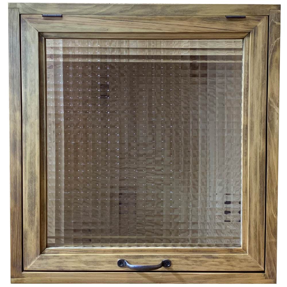 突き出し窓 チェッカーガラス 採光窓 フラップアップ式 両面仕様 46×16×48cm 扉の厚み3cm アンティークブラウン 木製 ひのき ハンドメイド オーダーメイド 1327933