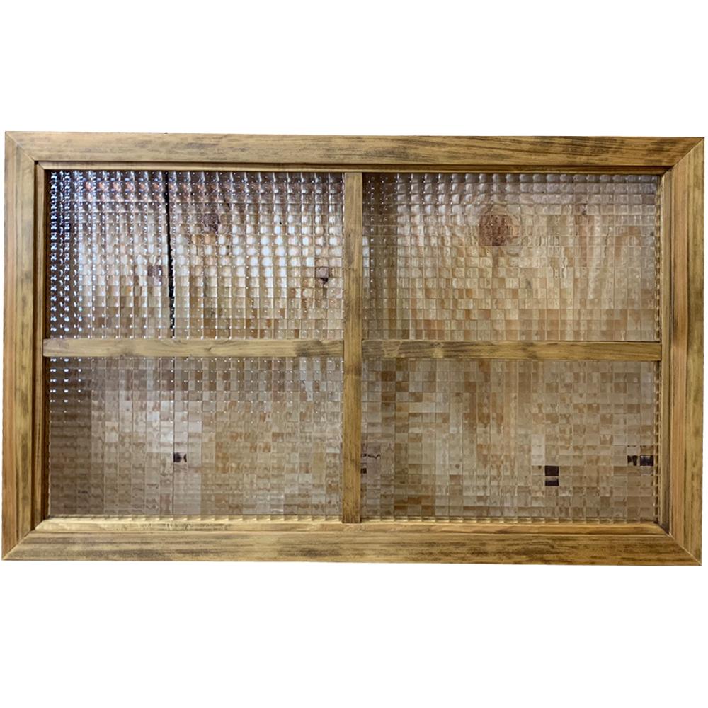 室内窓 チェッカーガラス 両面桟入り アンティークブラウン 78×3.5×50cm 木製 ひのき ハンドメイド オーダーメイド 1327933