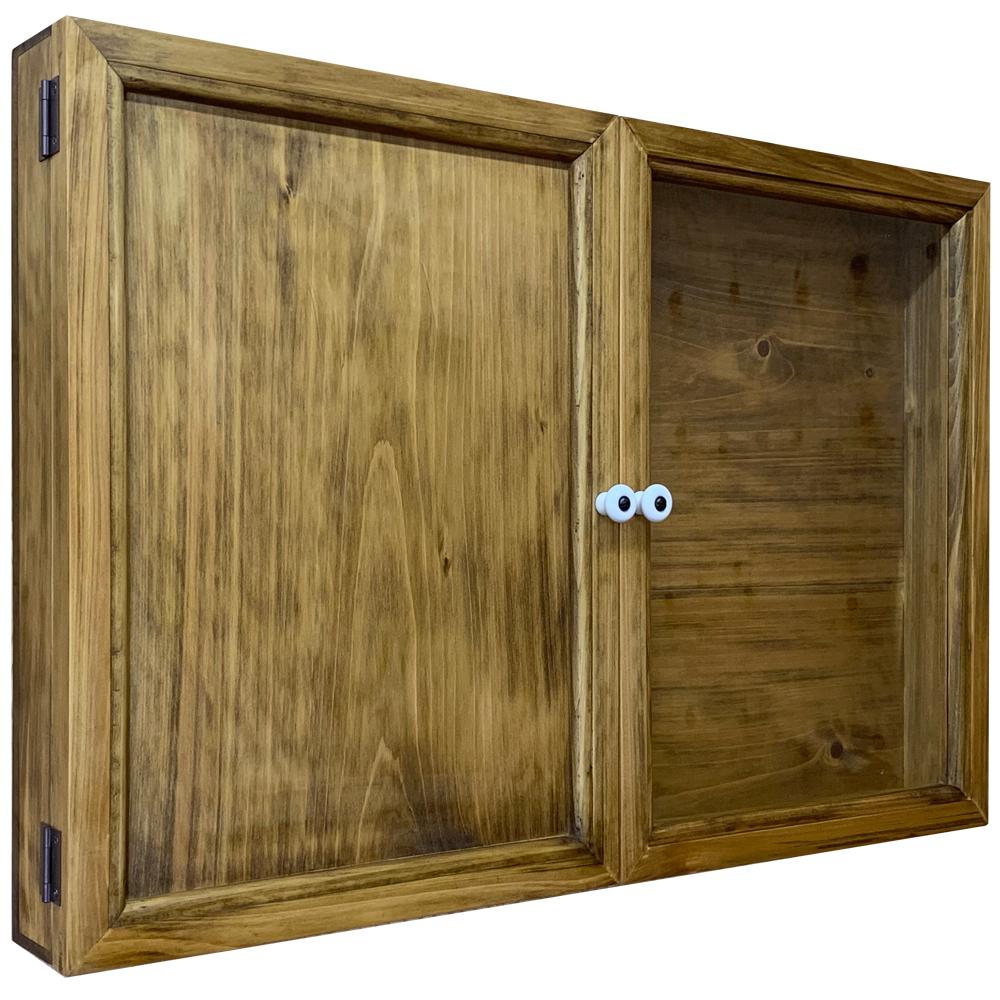 アクセサリーケース 開き戸 両開き アンティークブラウン 60×7×40cm 硝子扉 木製扉 木製 ひのき ハンドメイド オーダーメイド