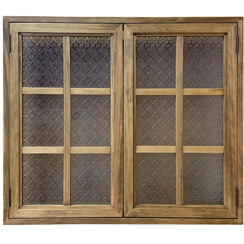 室内窓 フローラガラス扉 両面桟・裏面アイアン取っ手 アンティークブラウン 75×16.5×64cm・厚み3cm 北欧 木製 ひのき ハンドメイド オーダーメイド 1354963