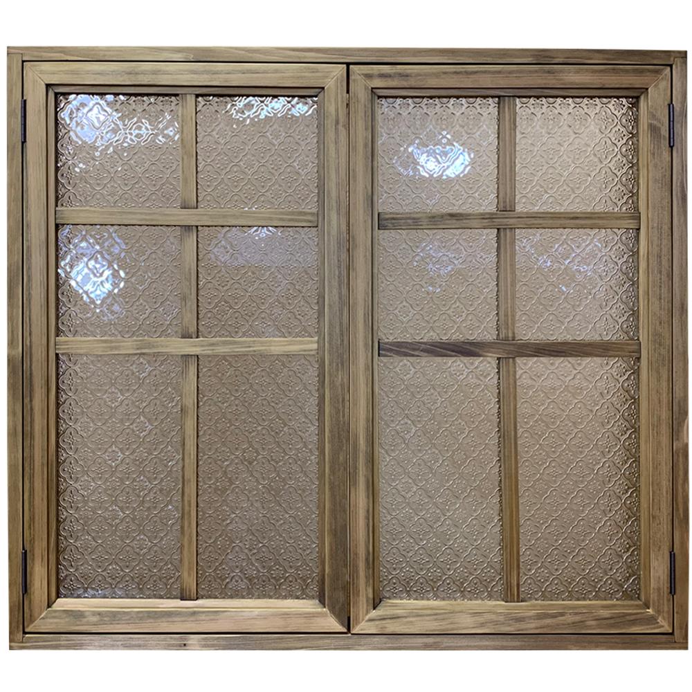 室内窓 フローラガラス扉 両面桟・裏面アイアン取っ手 アンティークブラウン 85×16.5×74cm・厚み3cm 北欧 木製 ひのき ハンドメイド オーダーメイド 1327933