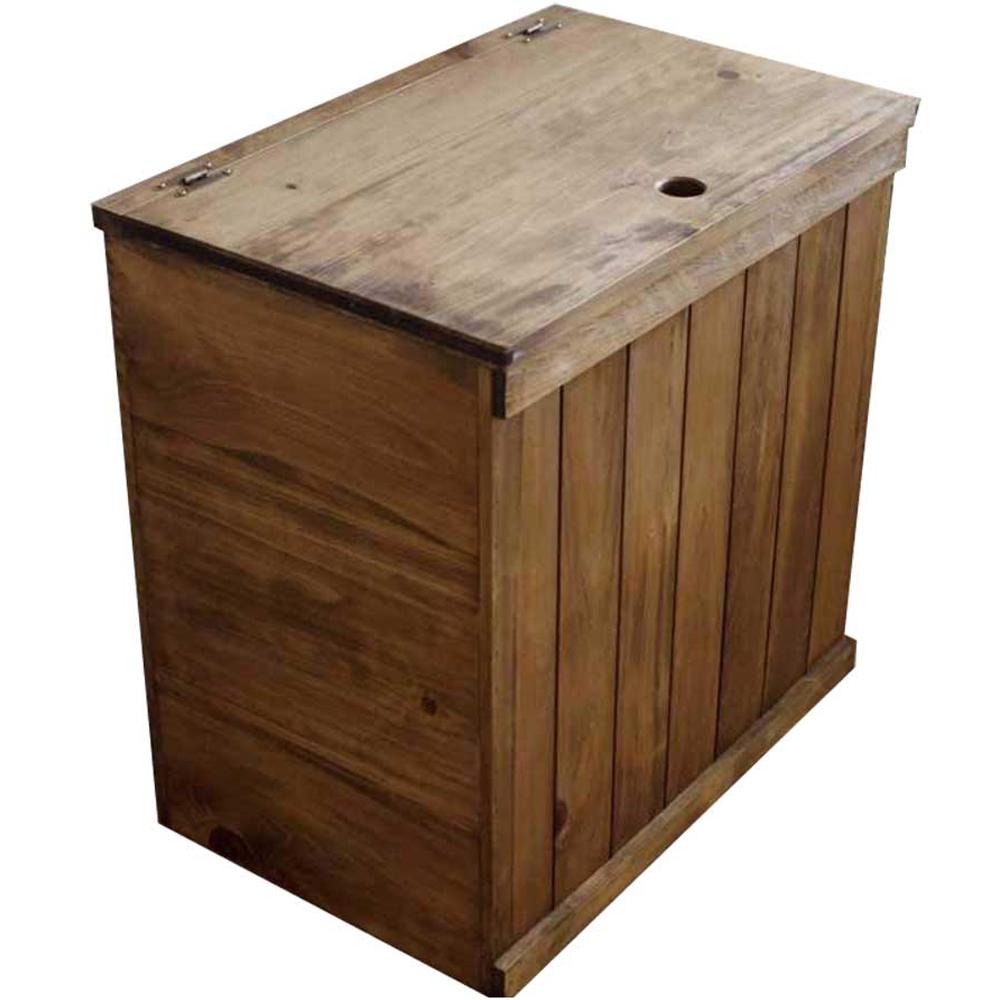 ダストボックスカバー 背板なし 側面板あり アンティークブラウン 60×39×60cm 木製 ひのき ハンドメイド オーダーメイド