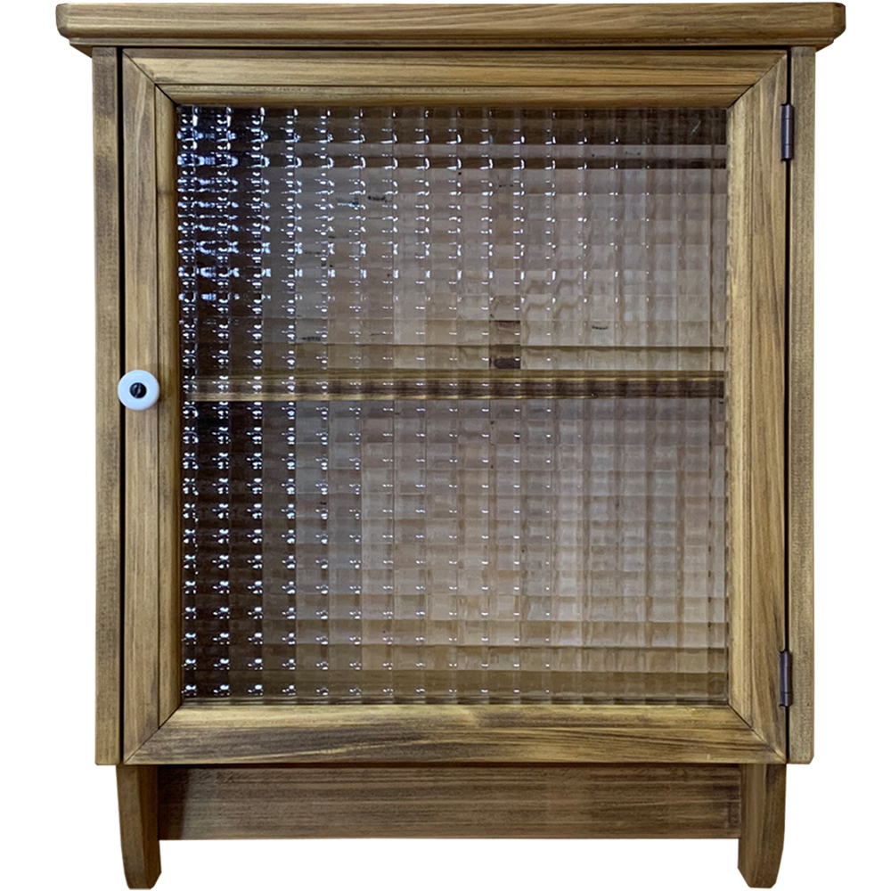 壁掛けキャビネット チェッカーガラス扉 片開き扉・二段棚仕様 37×14×47cm アンティークブラウン 木製 ひのき ハンドメイド オーダーメイド