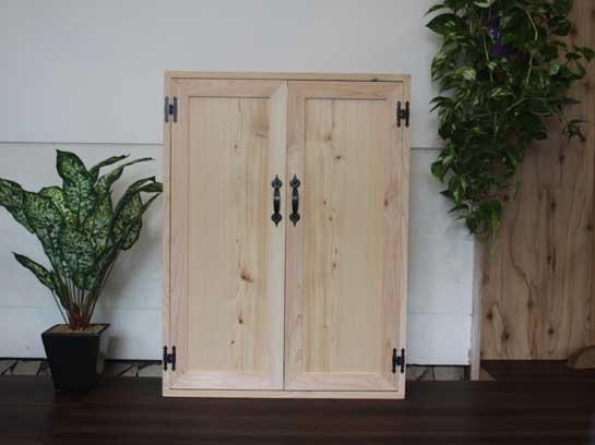 無塗装白木 ニッチが窓になる木製扉の窓枠風 両面取っ手付き室内扉(60×13.5×80cm)マグネット仕様 ニッチ用埋め込みタイプ 北欧 受注製作