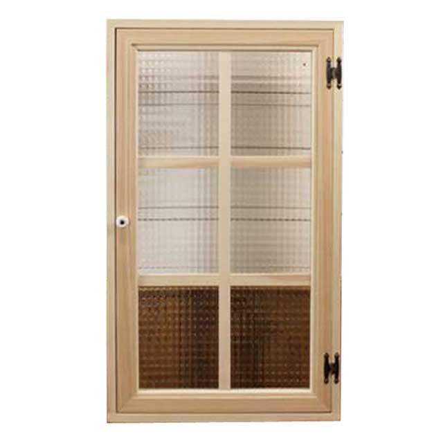 室内窓 採光窓 木製 ひのき 無塗装白木 チェッカーガラス扉 マグネット仕様 47×10×80cm 扉厚み3cm オーダーメイド 1327933