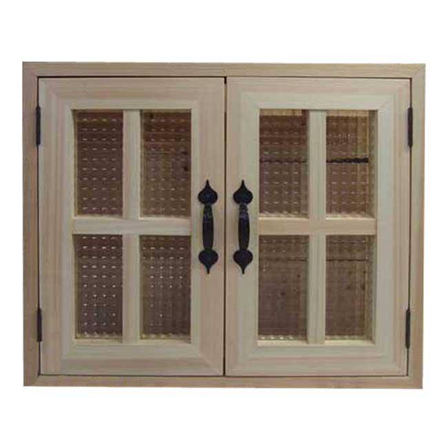 室内窓 採光窓 チェッカーガラス扉 木製 ひのき 無塗装白木 53×45cm・厚み3cm マグネット仕様 両面桟・取っ手つき 北欧 オーダーメイド 1327933