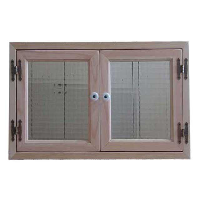 室内窓 採光窓 木製 ひのき 無塗装白木 フランス製チェッカーガラス 真鍮兆番 北欧 受注製作