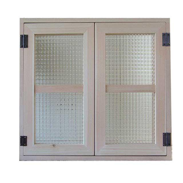 室内窓 採光窓 チェッカーガラス 木製 ひのき 60×55cm扉厚み3cm マグネット仕様 無塗装白木 オーダーメイド 1354963